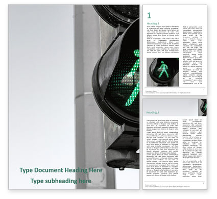Cars/Transportation: Green Pedestrian Traffic Light Presentation Gratis Word Template #16649