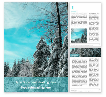 Nature & Environment: Landscape with snowy trees presentation免费Word模板 #16650