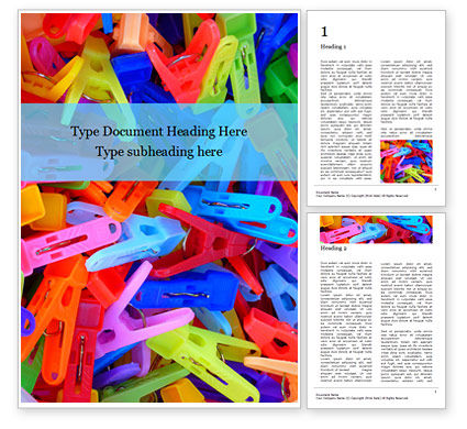 General: Multi-colored plastic clothespins presentation免费Word模板 #16654