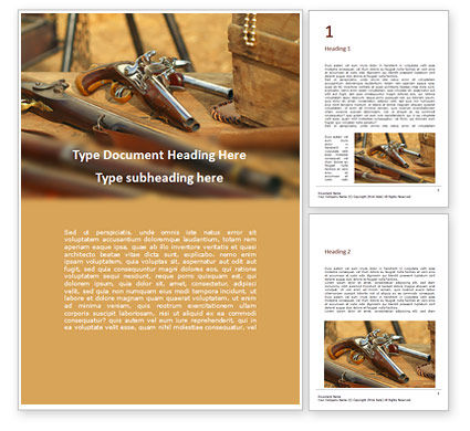 Military: Old Wooden Guns and Pistols Word Template #16663