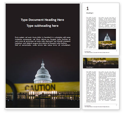 America: US Capitol Hill During Nighttime with Caution Tape Word Template #16664