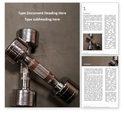 Sports: Two Metal Dumbbells Word Template #16666