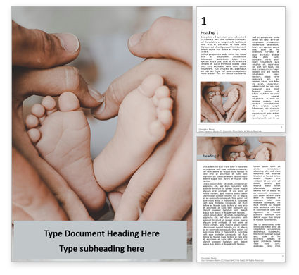 People: Children's Feet in Heart-Shaped Hands of Mother and Father Word Template #16667