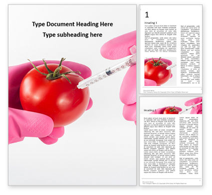 Technology, Science & Computers: Modello Word Gratis - Gmo scientist injecting liquid from syringe into tomato #16672