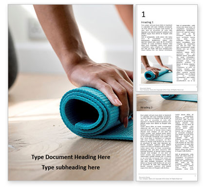 Sports: Young Yoga Woman Rolling Her Green Mat Word Template #16675
