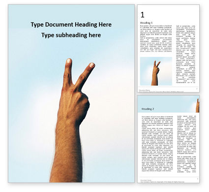 People: One Hand Making Peace Sign at Blue Sky Word Template #16677