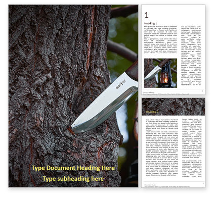 Nature & Environment: Modèle Word gratuit de knife in a tree trunk #16682