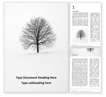 Nature & Environment: Alone Tree on a Winter Field Word Template #16684