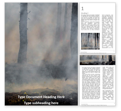 Nature & Environment: tree trunks in a smoke - 無料Wordテンプレート #16687