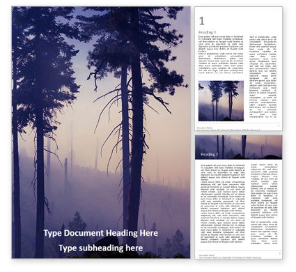 Nature & Environment: Smoke forest after wildfire免费Word模板 #16688