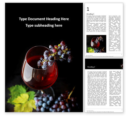 Food & Beverage: A Glass of Red Wine and Grapes Word Template #16689