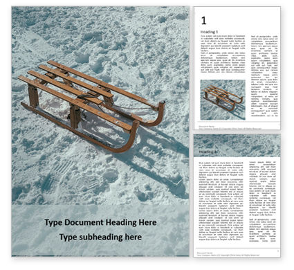 Nature & Environment: Wooden sled on snow免费Word模板 #16690