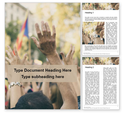 People: Raised Hands of Protesters at Political Demonstration Word Template #16691