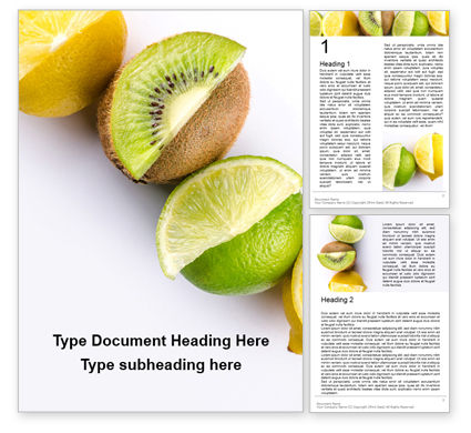 Food & Beverage: Sliced Tropical Fruits Word Template #16692