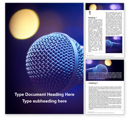 Art & Entertainment: close up of microphone in concert hall with blurred lights - 無料Wordテンプレート #16693