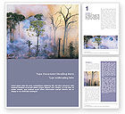 Nature & Environment: Forest Fire Word Template #01636