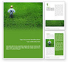 Agriculture and Animals: Farmer On The Green Field Word Template #01698