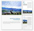 Nature & Environment: Plantilla de Word gratis - ciervos en los pastos de montaña #01850