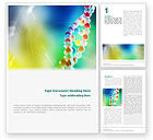 Medical: DNA On A Green Yellow Blue Word Template #01884