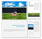 Holiday/Special Occasion: Free American Flag In Memorial Day Word Template #02281