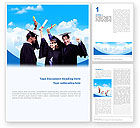 People: Graduators With Diploma Word Template #02376