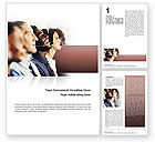 People: Call Center In Brown Palette Word Template #02567