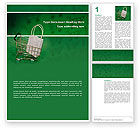 Careers/Industry: Shopping Cart With White Bag Word Template #02878