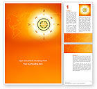 Global: Wind Rose In Orange Color Word Template #02879