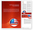 Flags/International: US Flag Word Template #02905