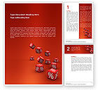 Financial/Accounting: Red Percent Cubes Word Template #02987