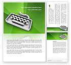 Technology, Science & Computers: 워드 템플릿 - 녹색 배경에 회색 키보드 #03003