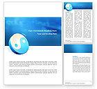 Religious/Spiritual: Blue Yin Yang Word Template #03073