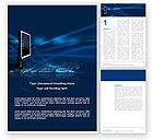 Technology, Science & Computers: Dark Blue Monitor Word Template #03103