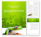 Agriculture and Animals: Tropical Green Frog Word Template #03160