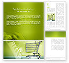 Financial/Accounting: Shopping Cart On Olive Background Word Template #03208