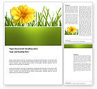 Nature & Environment: Yellow Flower In A Green Grass Word Template #03427