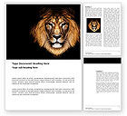Agriculture and Animals: Lion With Red Mane Word Template #03428