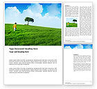 Nature & Environment: Girl On The Green Field Word Template #03453