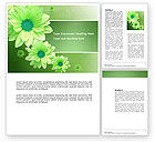 Holiday/Special Occasion: Green Flowers Word Template #03594