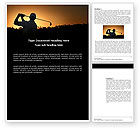 Sports: Golf Game On The Sunset Word Template #03731