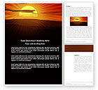 Nature & Environment: Sunset Word Template #03871