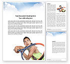 Sports: Girl With Tennis Racket Word Template #03892