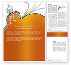 Telecommunication: Multicolored Wires On Orange Background Word Template #03969