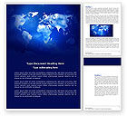 Global: Wide World Blue Map Word Template #04050