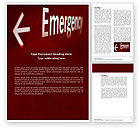 Business Concepts: Emergency Sign Word Template #04341