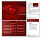 Holiday/Special Occasion: Red Hearts Word Template #04444