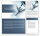 Business: Signature In A Blue Colors Word Template #04486