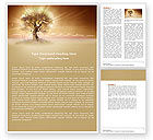 Nature & Environment: Lonely Tree At The Field In The Winter Word Template #04664