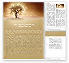 Nature & Environment: Einsamer baum auf dem feld im winter Word Vorlage #04664