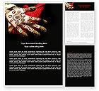 Art & Entertainment: Hennaed Hands Word Template #04669